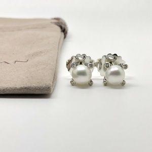 David Yurman Pearl Earrings With Diamonds 6mm
